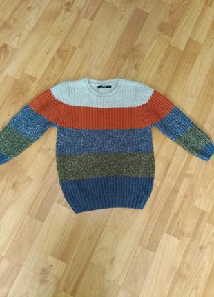 Актуальный теплый свитер в полоску на мальчика 4-6лет