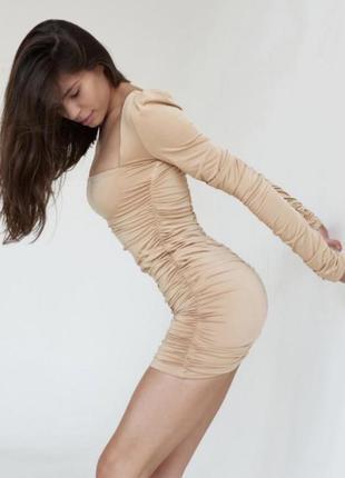 Вечернее коктельное платье мини по фигуре нюд беж кофе с молоком в складку длинный рукав, каадратный вырез oh 3