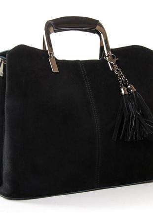Женская сумка alex rai. изготовлена из натуральной замши и  кожи