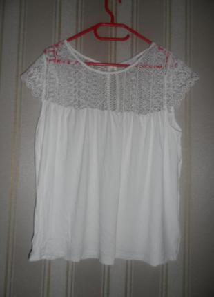 Трикотажная блуза бежевая  с кружевом короткий рукав размер 46 //  3xl вискоза