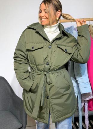 Куртка демисезон в стиле рубашки под пояс на утеплителе слимтекс хаки