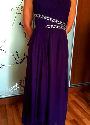 Шикарное фиолетовое вечернее выпускное платье