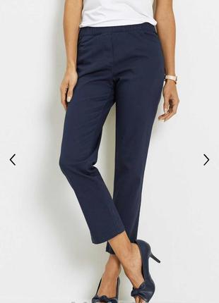 Стильные синие брюки классика укорочённые mango