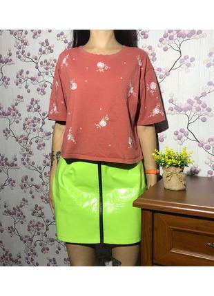Стильная футболка розовый топ с вышивкой 18/46/xxxl