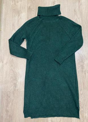 Теплое зимнее платье зёленое, вязка, изумрудное