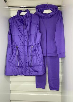 Тёплый костюм тройка на флисе + жилет 👍тренд сезона👍 цвета