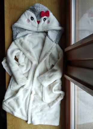 Очень очень мягкий плотный плюшевый халат на 4-5 лет