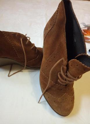 Ботинки, ботильоны,платформа, танкетка,оригинал,сапоги, туфли, замш натуральный, рыжий