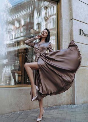 Платье миди с пышной юбкой на запах шёлк
