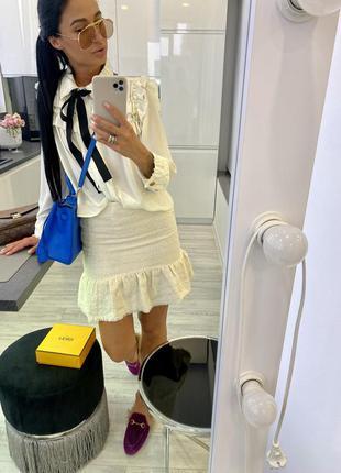 Крутая белая молочная твидовая тёплая юбка с шерстью хлопок твид mango