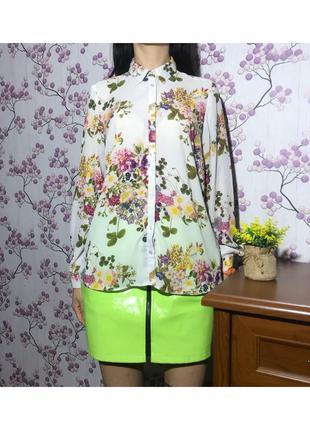 Шикарная белая блуза с цветами под шифон george 12