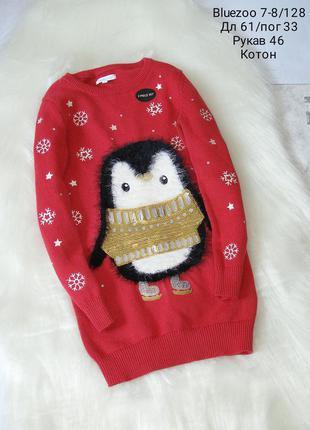 Тёплое платье 👗 с пингвином,длинный рукав, состояние нового