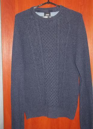 Базовый свитер джемпер синий, хлопок, l-xl, burton