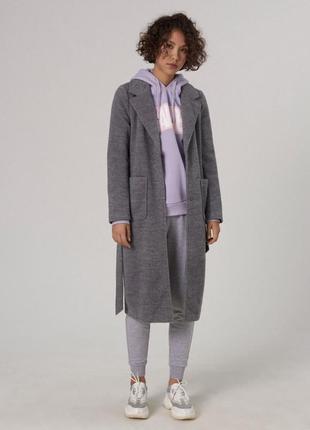Тёплое шерстяное пальто женское пальто кардиган с поясом
