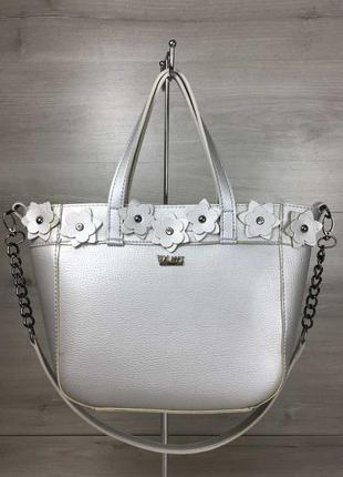 Серебристая женская сумочка шоппер корзина большая сумка на плечо с цветами