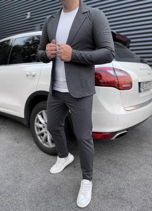 Костюм пиджак брюки под кеды серый стильный крутой молодежный
