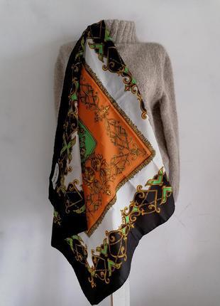 👑винтажный платок в принт в стиле hermes 👑платок каре с верзелями