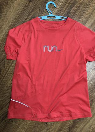 Крутая спортивная футболка унисекс беговая nike fit run