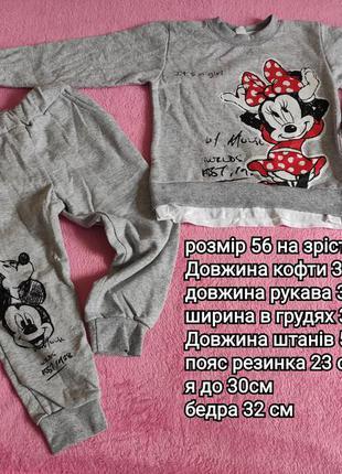 Дитячий костюм утеплений розмір 56 на зріст 86-92/ костюм для девочки начес