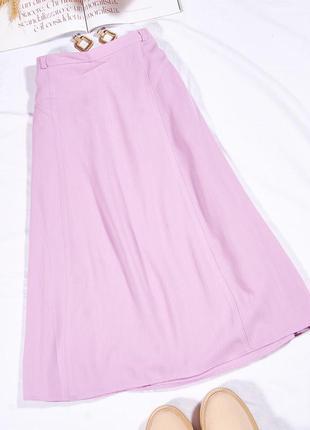 Сиреневая юбка миди, осенняя юбка ниже колен, нежная юбка демисезонная, спідниця