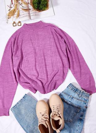 Сиреневый свитер оверсайз, женский свитер объемный, теплый свитер