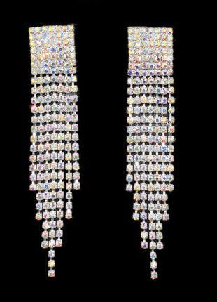 Серьги серёжки объемные вечерние серебристые со стразами кристалы голографик новые