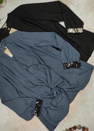 Блуза новая шикарная нарядная с декорированными рукавами паетки uk 22/50/4xl