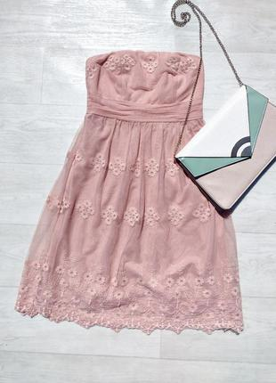 Нежное ажурное розовое персиковое гипюровое платье бюстье esprit