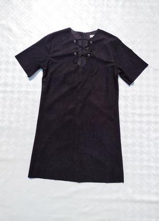 Замшевое короткое чёрное платье ivivi paris