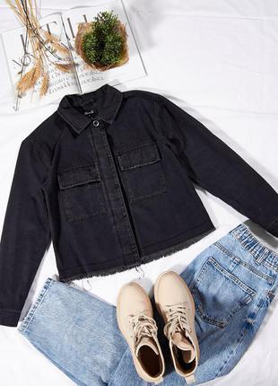 Джинсовая черная рубашка, рваная рубашка женская, теплая рубашка черная