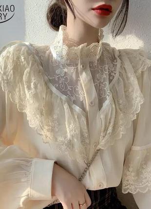 Блузка рубашка кружева рукава объемные фонарики ажур бежевая воротник стойка винтаж ретро