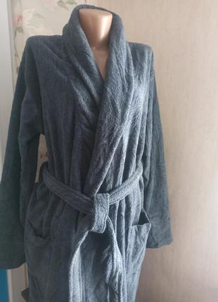 Натуральный роскошный махровый мужской длинный халат lux  германия m(48-50)