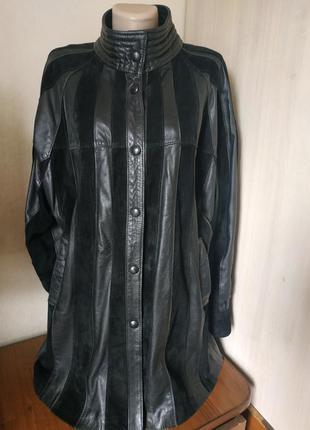 Якісне італійське  шкіряне пальто vassilis/ натуральна шкіра/женская длительная куртка/пальто