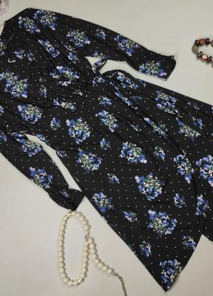 Платье новое эластичное крутое в горошек на запах большого размера marks&spencer uk 18/46/xxl