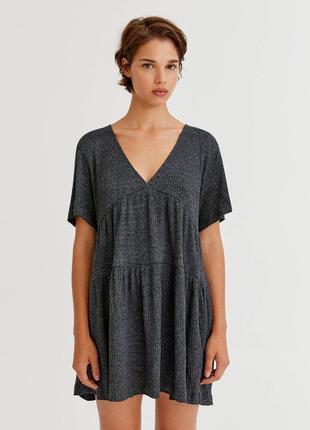 Свободное трикотажное платье батал в рубчик сукня плаття большой размер