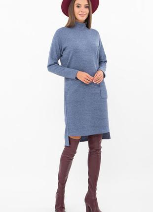 Модное тёплое платье качество 🔥цвет джинс & ангора