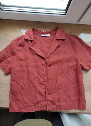 Рубашка лён с коротким рукавом