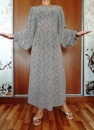 Красивейшее бежевое платье миди в горошек с объемными рукавами