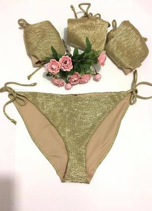 Шикарные золотые плавки бикини  новая коллекция англия