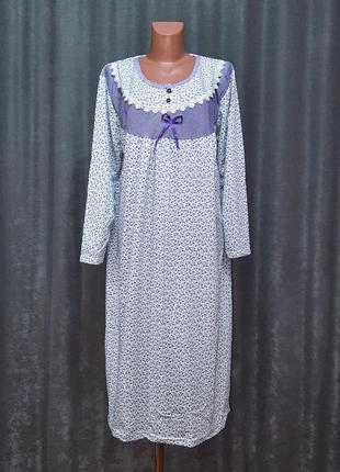 Нічна сорочка байкова, ночнушка тепла, ночнушка 58-62р. футер батал турция