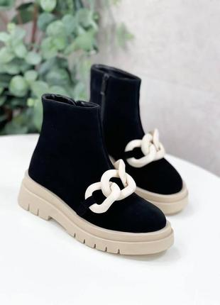 Ботинки натуральная замша черный деми