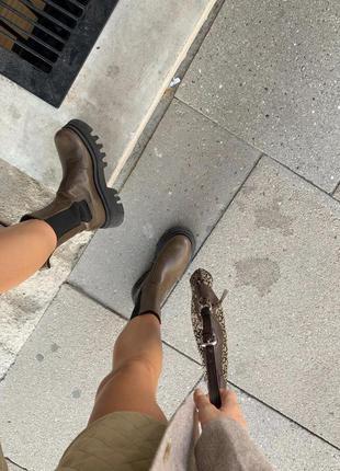 Кожаные кожа ботинки ботильоны, сапоги zara челси
