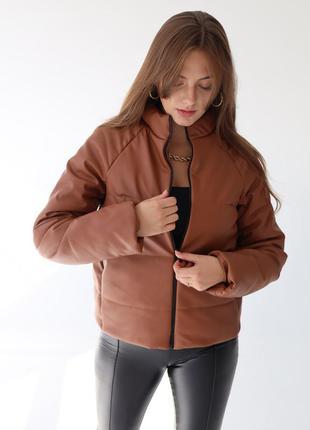 Куртка  женская из качественной экокожи venera, на холлофайбере, 3 цвета