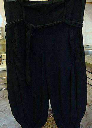 Бриджи женские черные трикотажные шаровары турция 95%вискоза, 5%лайкра