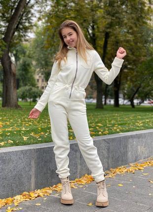 Комбинезон для девочки подростка серый с начесом на змейке