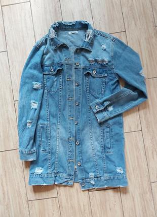 Удлиненный жакет джинсовый пиджак