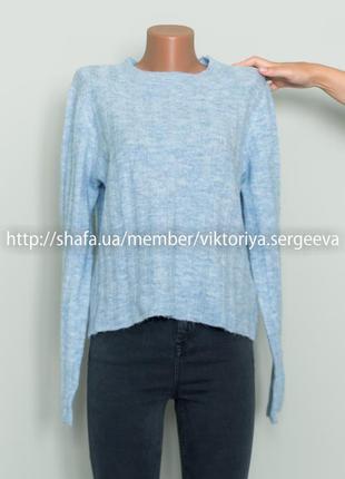 Теплый нежно голубой свитер 12% шерсть, 5% альпака