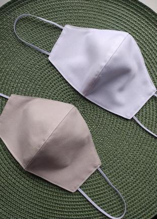 Белая однотонная маска многоразовая