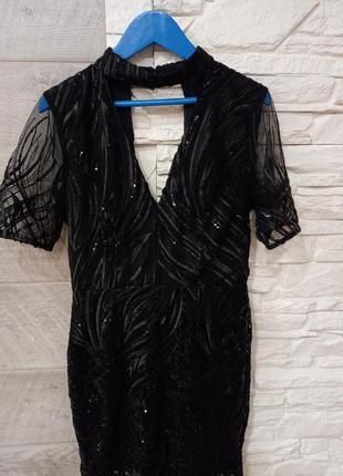 Шикарное аечернее платье расшитое пайетками river island
