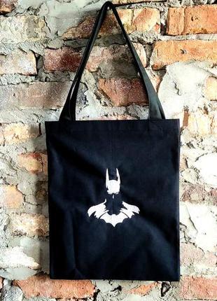 Сумка шоппер с вышивкой. бэтмен.